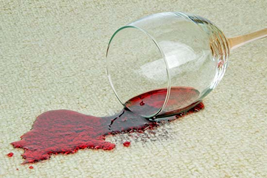 wine spilt on carpet stains and marks removed